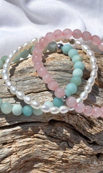 Facets of Summer 3 Premium Comfort Bracelets Pack for Women Rose Quartz faceted Pearls Amazonite custom-made by 1STone Artt & Design Custom Jewelry