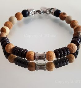 Gemstone Bracelet Kalahari Jasper Coconut Wood & Titanum Stainless Steel Carabiner & Cone custom-made by 1STone Art & Design Custom Jewelr