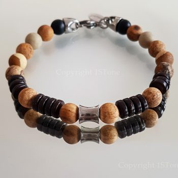 Gemstone Bracelet Kalahari Jasper Coconut Wood & Titanum Stainless Steel Carabiner & Cone custom-made by 1STone Art & Design Custom Jewelr