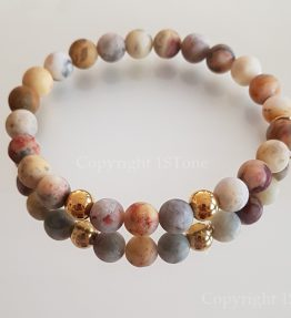 Gemstone Bracelet for Her & Him custom-made Arctic Gold Greenland Agate with Titanum Stainless Steel Rounds by 1STone Art & Design Custom Jewelry