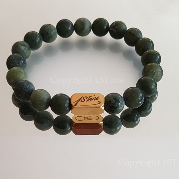 Mens Gemstone Premium Comfort Bracelet Canadian Jade mat finished with Titanum Stainless Steel Laser engraved Gold by 1STone Art & Design Custom Jewelry