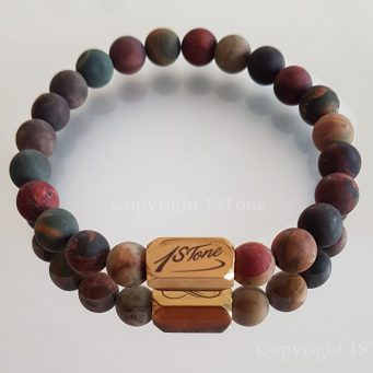 Gemstone Premium Comfort Bracelet matt finished Western Sahara Jasper with Gold Titanum Stainless Steel Ingot custom-made handcrafted by 1STone