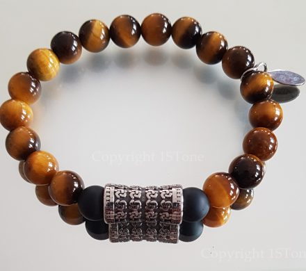 Golden Tigers Eye 1STLeaders Bracelet with black Obsidian & Stainless Steel Samurai Drum with Magnetic Clasp by 1STone Art & Design Custom Jewelry