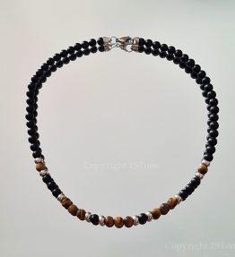 Golden Tigers Eye & Black Obsidian Gemstone Necklace with Stainless Steel Carabiner Clasp for Her & Him by 1STone Art & Design Custom Jewelry