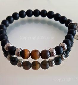 Golden Tigers Eye & Black Obsidian with Stainless Steel Premium Comfort Bracelet for Men by 1STone Art & Design Custom Jewelry Fuerteventura