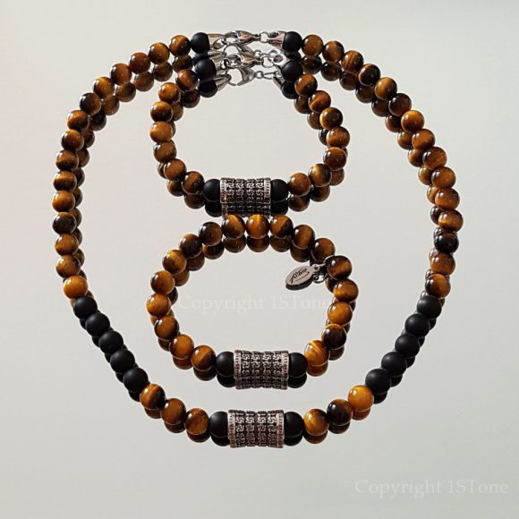 Golden Tigers Eye Samurai´s Drum Men´s custom-made Bracelets & Necklace with Carabiner or Magnetic Clasp by 1STone Art & Design Custom Jewelry