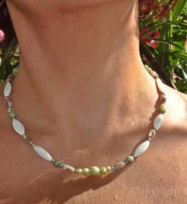 Green Breeze Womens Necklace Chrysoprase Jade Mother of Pearl by 1STone Art & Design Custom Jewelry Fuerteventura
