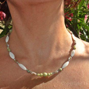 Green Breeze Womens Necklace Chrysoprase Jade Mother of Pearl by 1STone Art & Design Custom Jewelry Fuerteventura