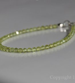 Ladies delicate faceted 3mm Peridot Gemstone Bracelet handcrafted by 1STone Custom Jewelry Fuerteventura Canary Islands