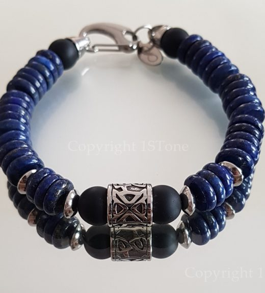Lapis Lazuli Button Mens 1ST Leaders Carabiner Clasp Bracelet with black Obsidian & Stainless Steel custom-made by 1STone Art & Design Custom Jewelry_124508-900x