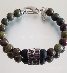 Men´s Dragon Blood Stone custom-made Gemstone Bracelet with Carabiner for Him by 1STone Art & Design Custom Jewelry Fuerteventura