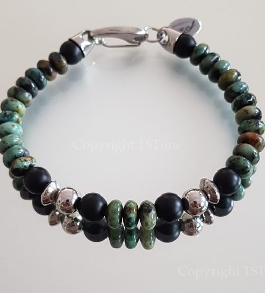 African Turquoise & matt finished Obsidian custom-made and handcrafted Gemstone Bracelet with Stainless Steel huge Carabiner Clasp by 1STone Art & Design Custom Jewelry