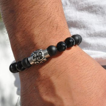 Mens Gemstone 1ST Leasders Bracelet Obsidian matte finished Black Agate facetted with Titanum Stainless Steel Earth Magnet by 1STone Art & Design Custom Jewelry