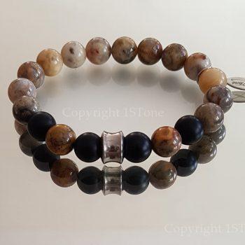 Mens Premium Comfort Bracelet Arctic Jasper & matt finished Obsidian by 1STone Art & Design Custom Jewelry Fuerteventura