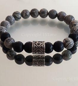 Mens Premium Comfort Bracelet my1STone Grey Planets Jasper Obsidian matt & Stainless Steel Tribal by 1STone Art & Design Custom Jewelry Fuerteventura _163958-900x