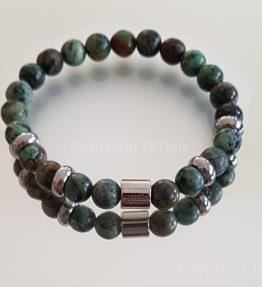 Mens Premium Comfort Turquoise Gemstone Bracelet African Roots custom-made by 1STone Art & Design Custom Jewelry