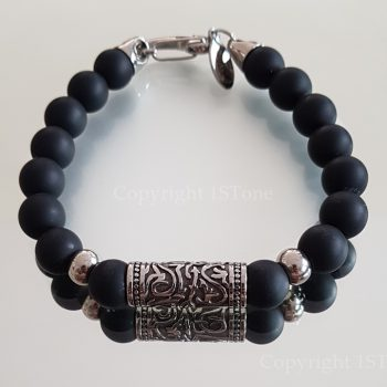 1ST Leaders Gemstone Bracelet Black Obsidian matt finished with Carabiner Clasp by 1STone Art & Design Custom Jewelry Fuerteventura