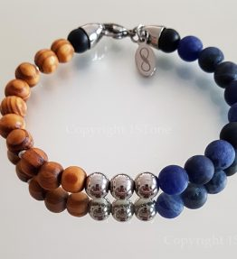 Namibian Sodalite with Canarian Pine Wood and Titanium Stainless Steel Rounds & Carabiner Clasp Bracelet for Her & Him by 1STone Art & Design