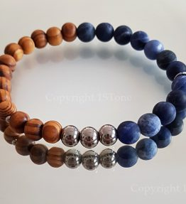 Namibian Sodalite with Canarian Pine Wood and Titanium Stainless Steel Rounds Premium Comfort Bracelet for Her & Him by 1STone Art & Design Custom Jewelry