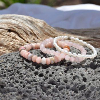Opals Rose n Pearls 3 Premium Comfort Bracelets Pack for Women Exclusive custom-made bespoken by 1STone Art & Design Custom Jewelry