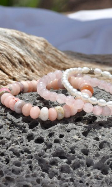 Opals Rose n Pearls 3 Premium Comfort Bracelets Pack for Women Exclusive custom-made bespoken by 1STone Art & Design Custom Jewelry