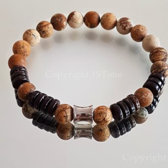 Premium Comfort Gemstone Bracelet Kalahari Jasper Coconut Wood & Titanum Stainless Steel custom-made by 1STone Art & Design Custom Jewelry