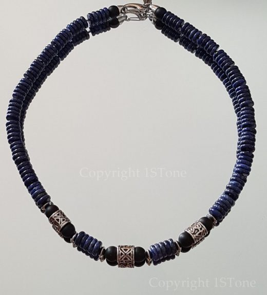 Ra´s True Blue Men´s 1ST Leaders Necklace Lapis Lazuli Button with Titanum Stainless Steel by 1STone Art & Design_92907
