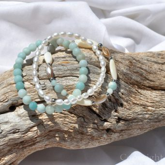 Summer Bay 3 Premium Comfort Bracelets Pack for Women cultivated Pearls Golden Shell Amazonite custom-made by 1STone Art & Design Custom Jewelry