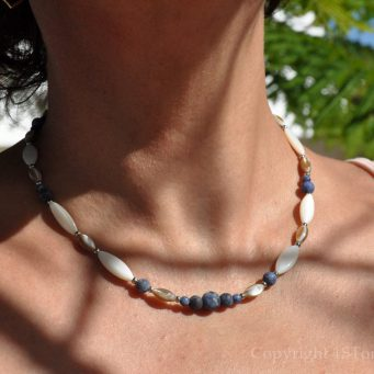The Ocean Breeze Womens Necklace AAA Grade Sodalite Namibia & Mother of Pearl by 1STone Art & Design Custom Jewelry Fuerteventura
