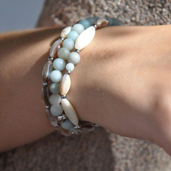 Turquoise Bay Womens 3 Bracelets Pack Amazonite matt finished & Mother of Pearl by 1STone Art & Design Custom Jewelry Fuerteventura