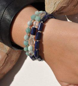 Women´s Gemstone Bracelet Pack Amazonite Lapis Lazuli Rock-Crystal Oceans & Sky by 1STone Art & Design Custom Jewelry