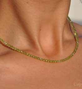 delicate faceted 2mm Peridot Ladies Gemstone Necklace handcrafted by 1STone Custom Jewelry Fuerteventura Canary Islands