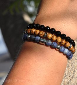Deep Ocean Man 3 Premium Comfort Bracelets Pack Sodalite Namibia AA Grade faceted black Agate Canary Pine Wood & Stainless Steel by 1STone DSC_8540