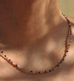 Ladies Delicate-Line custom-made 3mm facetted multicolour AAA Grade Tourmaline Necklace by 1STone Art & Design Custom Jewelry Fuerteventura