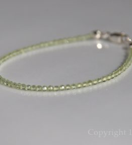 Ladies 2mm delicate faceted Peridot Gemstone Bracelet - Canaries green Facets