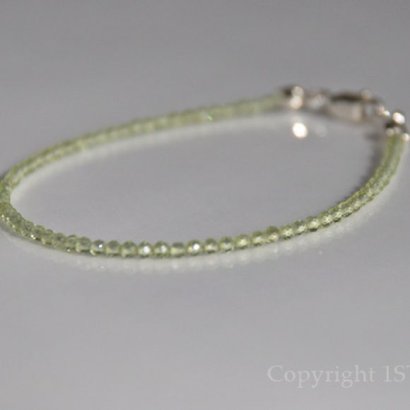 Ladies 2mm delicate faceted Peridot Gemstone Bracelet - Canaries green Facets