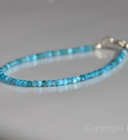 Ladies delicate faceted 3mm dark Apatite Gemstone Bracelet Pacific Blue by 1STone Custom Jewelry Fuerteventura Canary Islands