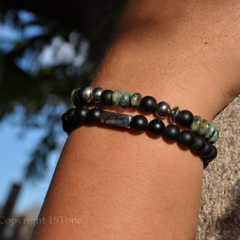 Mens 2 pcs Pack African Turquoise custom-made Gemstone Bracelet Premium Comfort by 1STone Art & Design Custom Jewelry_DSC_8559-900x