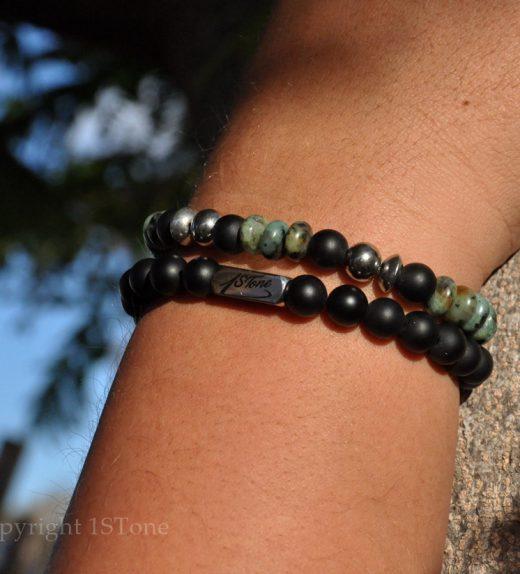 Mens 2 pcs Pack African Turquoise custom-made Gemstone Bracelet Premium Comfort by 1STone Art & Design Custom Jewelry_DSC_8559-900x