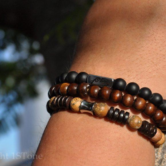 Mens 3 pcs Pack of Premium Gemstone Bracelets Kalahari Jasper Coconut Pine Wood & Stainless Steel Desert Juice DSC_8555-900x