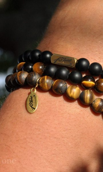 Pack of 3 Mens Gemstone Premium Bracelets matt finished golden Tigers Eye matt finished black Obsidian polished Tigers Eye with Gold Stainless Steel Ingot & Laser engraved Tube Pans Labyrinth by 1STone_DSC_8544-900x