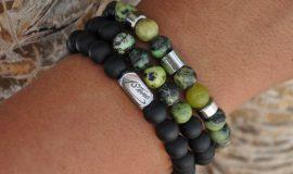 Pack of 3 Mens Gemstone Premium Bracelets AA Grade Chrysoprase, matt black Obsidian, with Silver Stainless Steel Ingot & LogoTube by 1STone