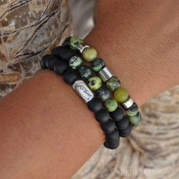 Pack of 3 Mens Gemstone Premium Bracelets AA Grade Chrysoprase, matt black Obsidian, with Silver Stainless Steel Ingot & LogoTube by 1STone