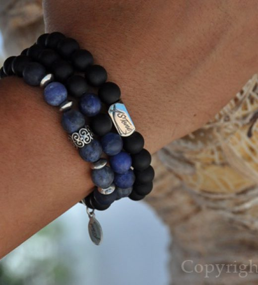 Pack of 3 Mens Gemstone Premium Bracelets AA Grade Sodalite, matt black Obsidian, with Silver Stainless Steel Ingot & LogoTag by 1STone