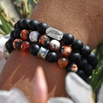 Pack of 3 Mens Gemstone Premium Bracelets AA Grade faceted Fire Agate, matt black Obsidian, with Silver Stainless Steel Cone & Logo Ingot by 1STone