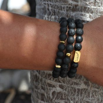 Pack of 3 Mens Gemstone Premium Bracelets AA carved matt Obsidian & Black Lava with Gold Stainless Steel Ingot & Logo Infinity Tag Greets from Lhasa by 1STone