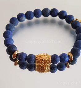 Premium Comfort Bracelet Lapis Lazuli - Royal Blue & Gold by 1STone Art & Design Custom Jewelry