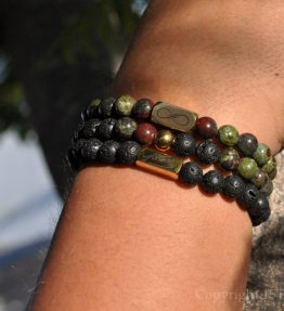 AAA Dragon Blood Stone 3 Premium Comfort Bracelets Pack for Men - St. George Gold