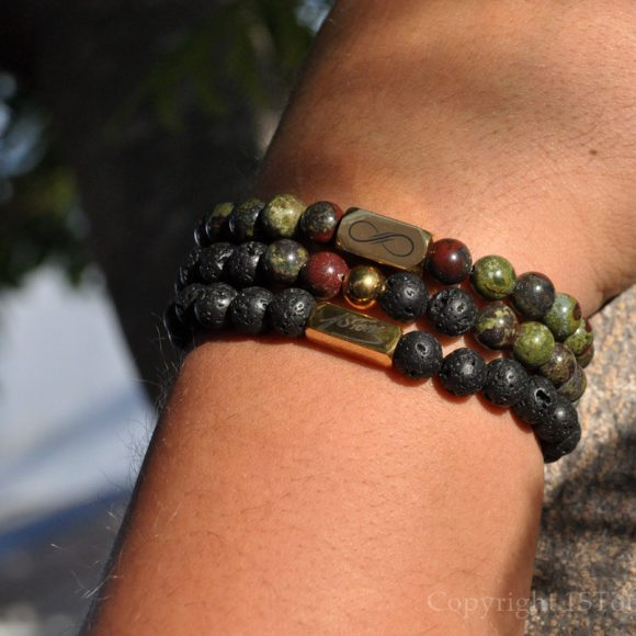 Saint George Mens 3pcs Premium Comfort Gemstone Bracelets Pack Dragon Blood Stone & polished Black Lava custom-made by 1STone Art & Design Custom Jewelry Fuerteventura