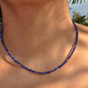 True Blue Ladies 3mm delicate faceted Lapis Lazuli Necklace custom-made by 1STone Art & Design Custom Jewelry Fuerteventura
